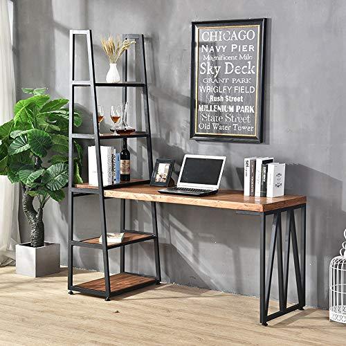 Lzcaure Computertisch Industrie Vintage Computer Schreibtisch mit Regal 5-Tier Bücherregal Set for das Home Office Arbeitsplatz (Color : Brown, Size : 120x60x75cm)
