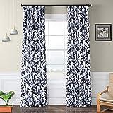 HPD Half Price Drapes BOCH-KC113-84 Blackout Room Darkening Curtain (1 Panel), 50 X 84, Hibiscus Blue