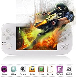 Handheld Game Console,XinXu 4.3 inch TFT Screen 600+ Games Retro Games Consoles with Camera Video Music Ebook Function Portable Rechargeable Video Game Handheld Christmas Birthday Gifts For Friends Kids Children White (PAP KIII, White)