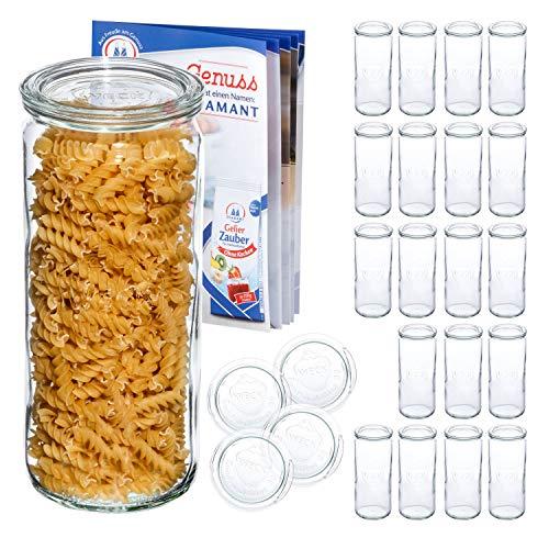 MamboCat Lot de 24 verres à cylindre WECK 1.040 ml + 24 couvercles R80 + livret de recettes (français non garanti) en verre transparent Ø 8,8 cm + accessoires de conservation