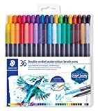 Staedtler Watercolour Brush Pens 3001 TB36, Rotulador de Doble Punta de Fibra Acuarelable, 36 unidades, Multicolor