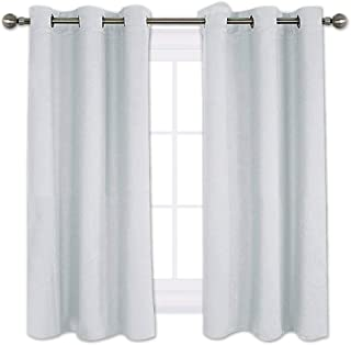 NICETOWN Room Darkening Curtain Panels for Bedroom -Easy Care Solid Thermal Insulated Grommet Room Darkening Draperies/Drapes (2 Panels,42 by 54,Platinum-Greyish White)
