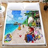 WFQTT Super Mario - Manta de franela para niños, diseño de dibujos animados, suave y gruesa, para sofá, oficina, adultos (1,60 x 50 cm)