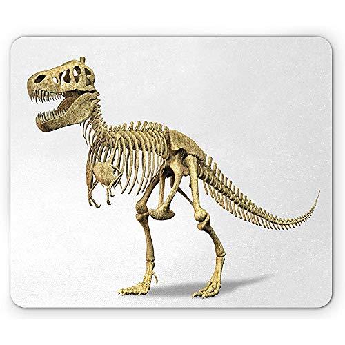 Dinosaurier-Mauspad,Ur-Wildtier-Konzept Fossiles Tier-Skelett Paläontologie Raubtier-Kreatur,Rechteck Rechteck Rutschfeste Gummi-Mauspad,Elfenbeinweiß