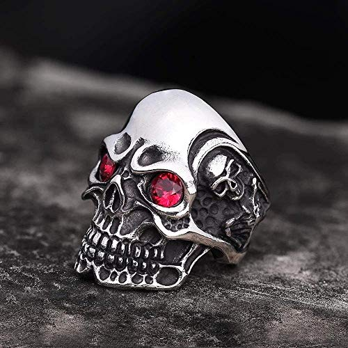 Viking Odin Punk Skull Ring Gothic Acero Inoxidable Titan Ghosts Head Skeleton Wings Ring Exquisito Diseño Alianza de Boda de Compromiso para Hombres Moteros,Rojo,9