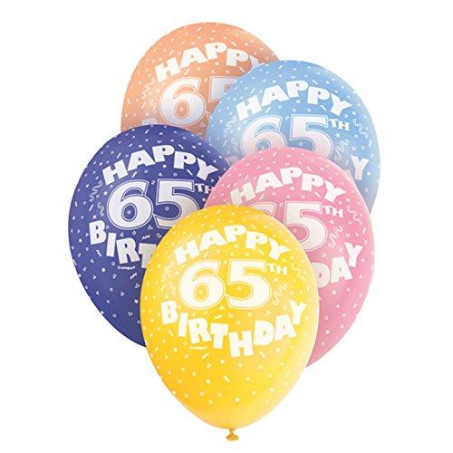 Unique Party Palloncini assortiti compleanno - 65 anni (pacco da 5) (Taglia unica) (Multicolore)