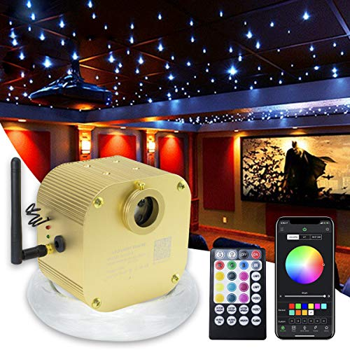 16W Bluetooth Twinkle Fiber Optic Star Ceiling Lights Lamp Kit, LED RGBW Engine Driver APP/Remote Control (430pcs(0.03in+0.04in+0.06in)9.8ft)