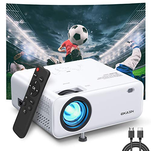 Mini Projector, EKASN Creative E450 Portable Video Projector Works for iPhone, 5500Lux 1080P HD and 200'' Supported Phone Projector for Outdoor Movies & Home Cinema, with TV Stick, HDMI, VGA, AV, USB