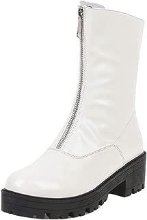 ELEEMEE Women Fashion Block Heel Ankle Boots Platform