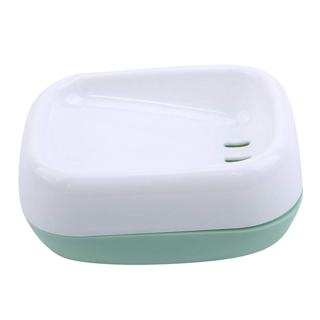 義務すごいどういたしましてZALINGソープディッシュボックス浴室プラスチック二重層衛生的なシンプル排水コンテナソープディッシュグリーン
