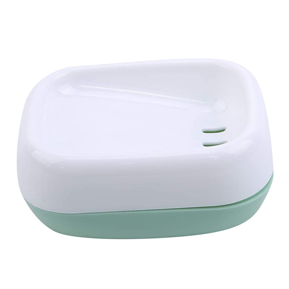 貸し手乱用シャイZALINGソープディッシュボックス浴室プラスチック二重層衛生的なシンプル排水コンテナソープディッシュグリーン