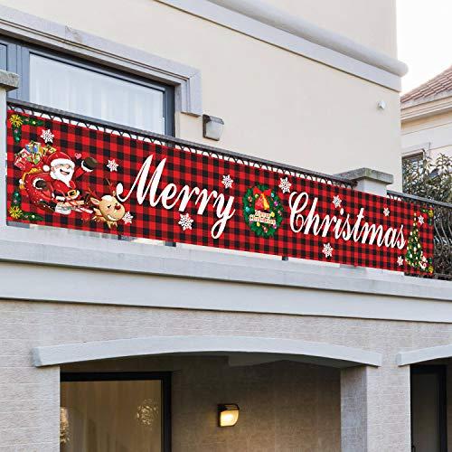 RUIXIA Weihnachtsbanner Großes Banner mit Aufschrift Merry Christmas, Weihnachtsdekoration Flagge Outdoor Garten Pull Flag Banner Veranda Hängezeichen für den Außenbereich (296 * 48cm)