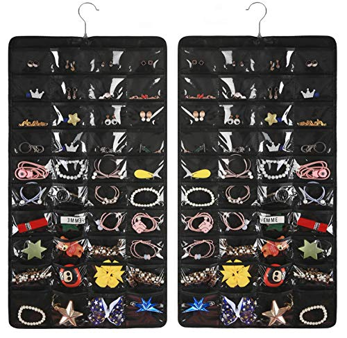 AARAINBOW Hanging Jewelry Organizer,80 Pockets Dual-Sided Non-Woven Transparent Foldable Organizers for Closet,Women Girl Storage Bag for Earrings Necklace Bracelet Ring Accessory (Black)