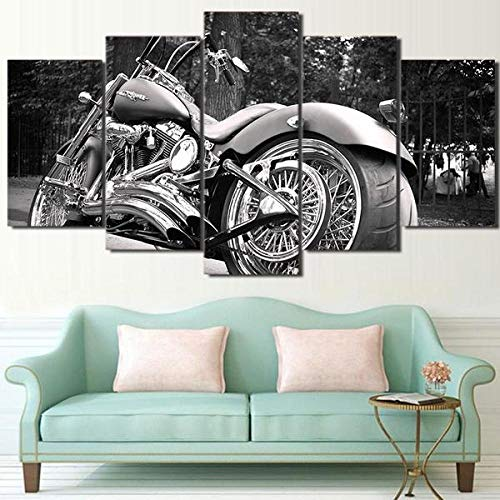 KOPASD 5 Teilig Art Bilder Wandbild Leinwand Motorcycle Chopper Wide Tire 1 – Automative Format Wohnzimmer Wohnung Wanddekoration Design Wand Bild Kunstdrucke Abstrakt Bilder Fertig Aufhängen