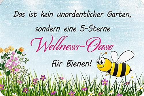 vielesguenstig-2013 Blechschild Schild 20x30cm - kein unordentlicher Garten 5 Sterne Wellness Oase für Bienen
