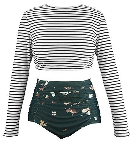 COCOSHIP Black White Striped & Bloom Floral Bikini Set Splice Long Sleeve Swim Shirt Rash Guard Top Tankinis High Waist Swimsuit 4