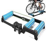 Rodillo de entrenamiento plegable para bicicleta de montaña de 24 a 29 pulgadas, aleación de aluminio, color azul