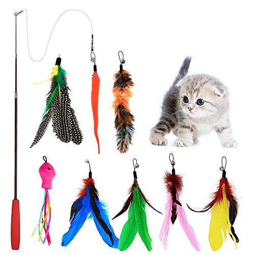 Blaoicni Cat Wand Feather Toys Retractable Interactive Cat Tease Toys with 8 Refills Feathers Birds Worms Fish for Cats Kitten.