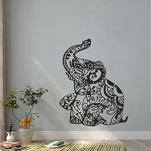 Adhesivo decorativo para pared, diseño de elefante floral, ideal para yoga, habitación infantil, dormitorio o dormitorio, diseño de interiores, color blanco, 71,12 cm de alto x 55,88 cm de ancho, vinilos para el hogar