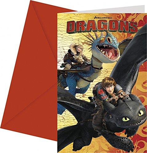 Procos Drachenzähmen leicht gemacht 6 Einladungskarten mit Umschlag
