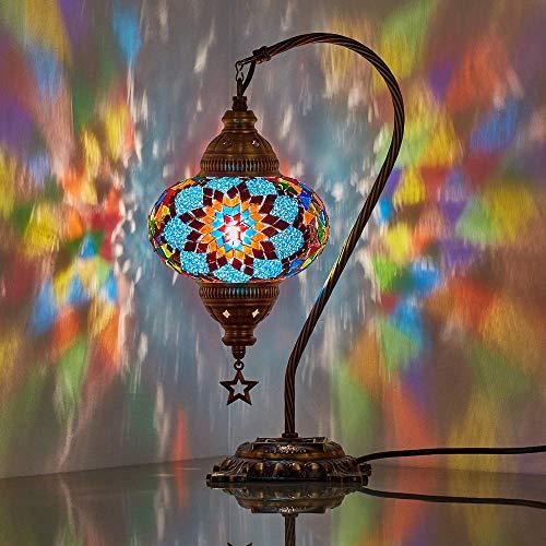 lampada da scrivania decorativa DEMMEX Lampada da tavolo a mosaico turco marocchino collo di cigno fatto a mano scrivania comodino lampada da comodino