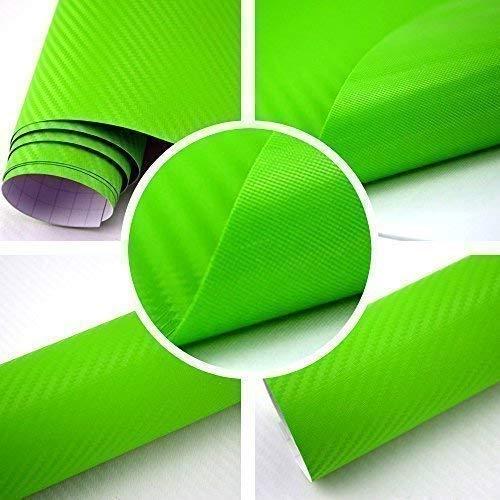TipTopCarbon 8,55€/m² Autofolie 3D Carbon Grün 152cm Breit BLASENFREI mit Luftkanäle 3D Flex Selbstklebende Folie Auto folierung