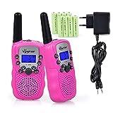 Upgrow RT-388 Walkie Talkie Funkgerät für Kinder mit Wiederaufladbaren Akkus, Kinder Funkgerät Funk Handy, 8 Kanäle mit LCD-Display, Reichweite 3 Km(Rosa)