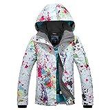 Chaqueta de Snowboard de esquí para Mujer Chaqueta Impermeable Forrada de Invierno cálido Estampada Colorida 9896 Bianca XS