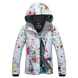 APTRO Damen Skijacke warm Jacke gefüttert Winter Jacke Outdoor Funktionsjacke Regenjacke Weiß 9896 S