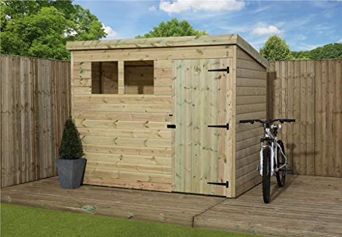 EMS Retail WOODEN GARDEN SHED 8X6 SHIPLAP PENT SHED TANALISED PRESSURE TREATED WINDOWS