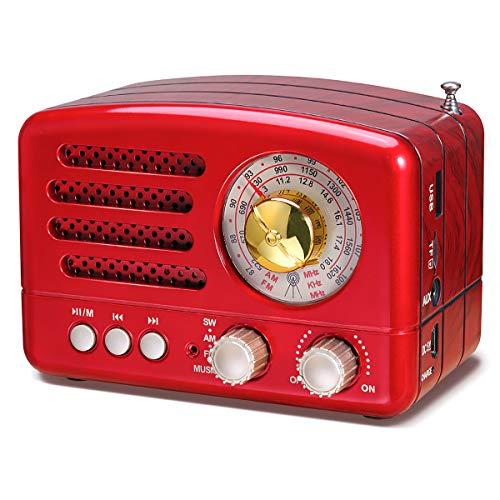 PRUNUS J-160 Radio de Transistor Vintage pequeña, Altavoz Bluetooth portatil Radio Retro con batería Recargable de 1800mAh, USB Incorporado, Micro-SD, Entrada AUX (Rojo)