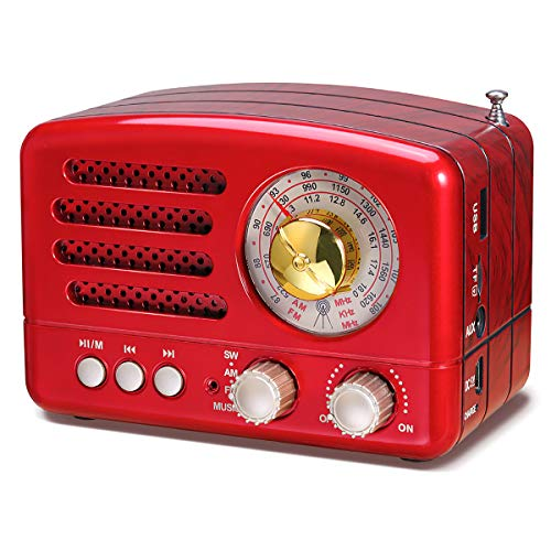 PRUNUS J-160 Radio Vintage AM/FM/SW, Poste Radio à Ondes Courtes,Enceinte Bluetooth Radio,Batterie Rechargeable 1800mAh,Lecteur de AUX/USB/TF/MP3