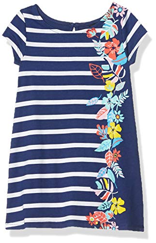 Nautica Girls' Short Sleeve Dress, Floral Border Deep Navy, 6X