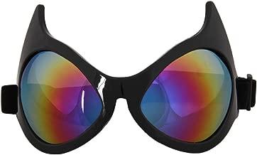 Elope Cat Eye Costume Goggles Black, Rainbow Lenses
