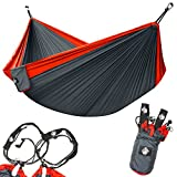 Legit Camping Double Hammock - Lightweight Parachute Portable Hammocks for Hiking, Travel, Backpacking, Beach, Yard Gear Includes Nylon Straps & Steel Carabiners (Ruby/Charcoal)