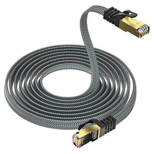 CAT 8 Netzwerkkabel 40Gbits Lan Kabel-3m,Yurnero Flach Gigabit Ethernet Patchkabel- 2000MHz,mit RJ45 Stecker Cat8 Kabel,Verlegekabel Kompatibles Cat 6/Cat 7,Geeignet für Router,Modems,Switches