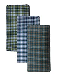 BlueDenim PureCotton Lungis for Men, 2 meter Set of 3 (Multi Colour)||Assorted Checks or Colors