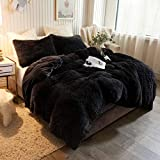 XeGe Plush Shaggy Duvet Cover Luxury Ultra Soft Crystal Velvet Bedding 1PC(1 Faux Fur Duvet Cover),Zipper Closure (Queen, Black)