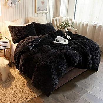 XeGe Plush Shaggy Duvet Cover Luxury Ultra Soft Crystal Velvet Bedding 1PC 1 Faux Fur Duvet Cover ,Zipper Closure  King Black