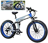 Bicicleta eléctrica de nieve, Plegable bicicleta eléctrica for Adultos 7 Speed Shift bicicleta de montaña de 26 pulgadas ruedas de radios Montaña eléctrica de la bicicleta MTB de doble suspensión de