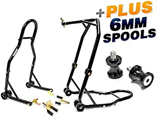 Venom Motorcycle Front+Rear Dual Lift Stand - w/Spools For Yamaha R6 YZF-R6 2006-2011