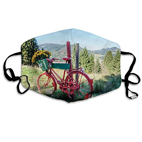 Printed Facial decorations, Mountain Landscape Illustration of Old Bike with Wild Yellow Flowers in The Basket,Comfortable Windproof mask for Seniors and Adults(M)-3112