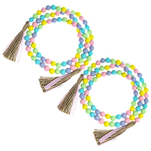 Baalaa 2 Pcs Easter Wood Bead Garland 58 Inch Farmhouse Rustic Spring Beads Garland Tiered Tray Decoration with Tassels Decor,A
