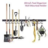 PURATEN - Organizzatore per attrezzi da giardino, 48 pollici, regolabile, per montaggio a parete, per garage, Not null, Nero , Taglia unica