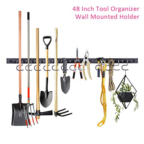Garage Tool Hanger, 48 Inch Durable Tool Organizer, Heavy Duty Wall Mounted Tool Holder with Strong Bearing Capacity, Garage Storage System Hooks