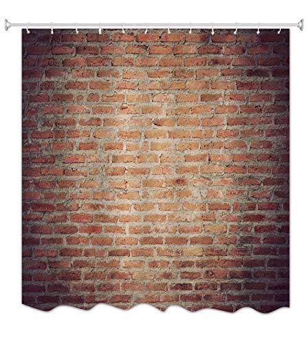 A.Monamour Grunge Getragen Rot Ziegel Beton Wand Abstraktes Bild Drucken Antibakterielle Polyester Stoff Duschvorhang Für Bad Dekoration Zubehör 180X200 cm / 72