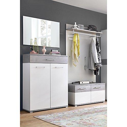 Lomado Garderobe 4-teilig ● Weiß & Beton Optik ● Garderobenset: Schuhschrank, Spiegel, Schuhbank, Garderobenpaneel ● Made in Germany