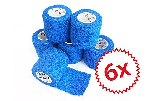 6 x cohesive Bandage I Haftbandage I Fixierverband I Sportbinde I elastisch I wasserfest I 5 cm, 4,5 m Länge (Blau)