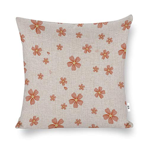 Funda de cojín con diseño floral naranja de flores de cerezo blanco, funda de almohada decorativa para el hogar, para hombres, mujeres, niños, niñas, sala de estar, dormitorio, sofá, silla, funda de almohada de 45,7 x 45,7 cm