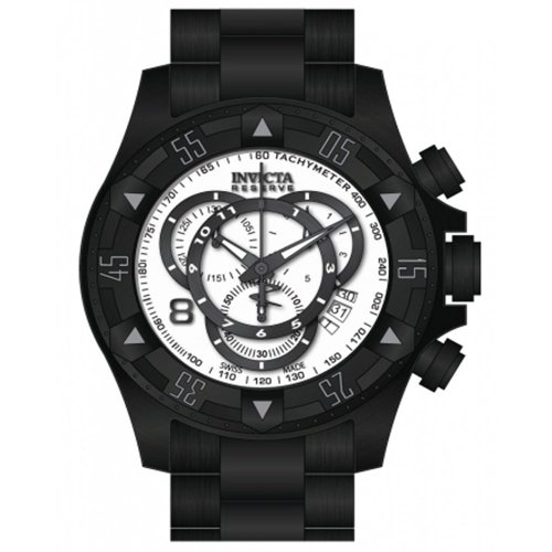 Invicta Excursion Chronograph White Dial Black Black Ion-plated Mesn Watch 80628